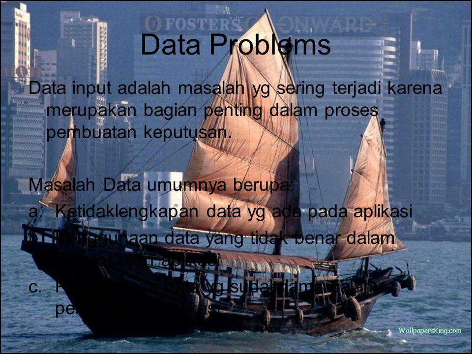 Data Problems Data input adalah masalah yg sering terjadi karena merupakan bagian penting dalam proses pembuatan keputusan.