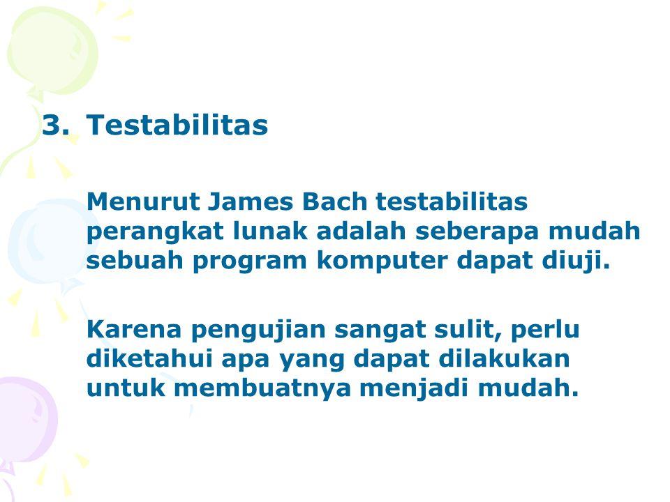 Testabilitas Menurut James Bach testabilitas perangkat lunak adalah seberapa mudah sebuah program komputer dapat diuji.