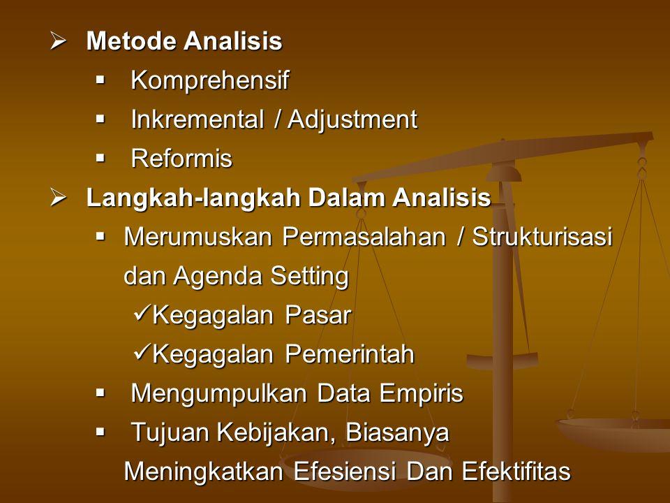 Metode Analisis Komprehensif. Inkremental / Adjustment. Reformis. Langkah-langkah Dalam Analisis.