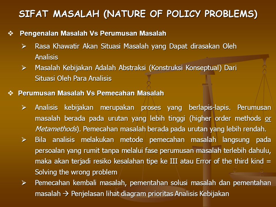 SIFAT MASALAH (NATURE OF POLICY PROBLEMS)
