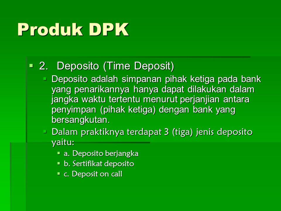 Produk DPK 2. Deposito (Time Deposit)