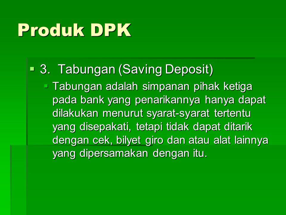 Produk DPK 3. Tabungan (Saving Deposit)