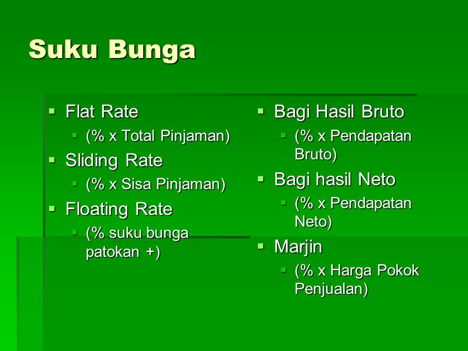 Suku Bunga Flat Rate Sliding Rate Floating Rate Bagi Hasil Bruto
