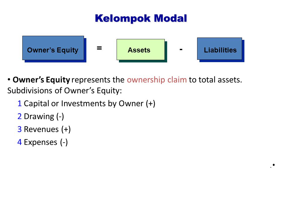 Kelompok Modal = - Owner's Equity. Assets. Liabilities.