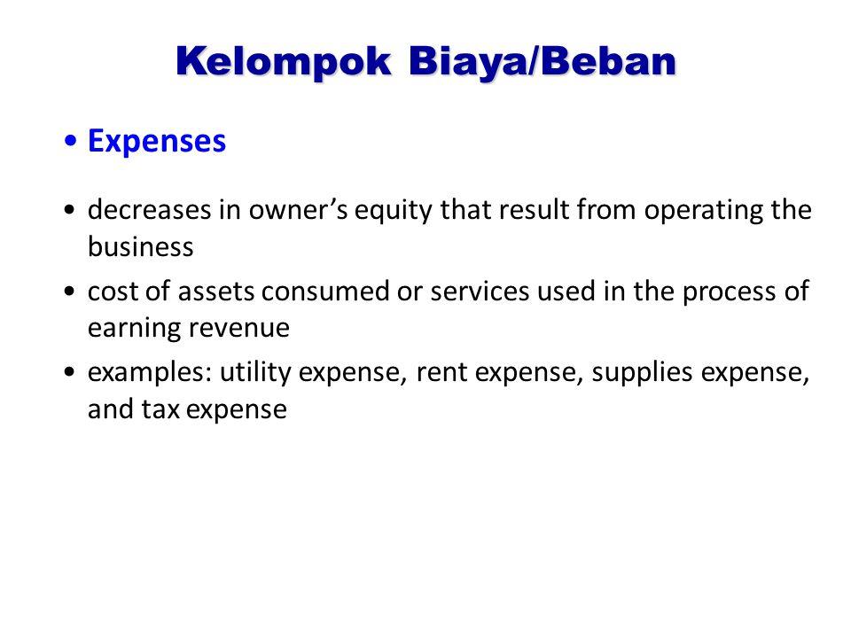 Kelompok Biaya/Beban Expenses