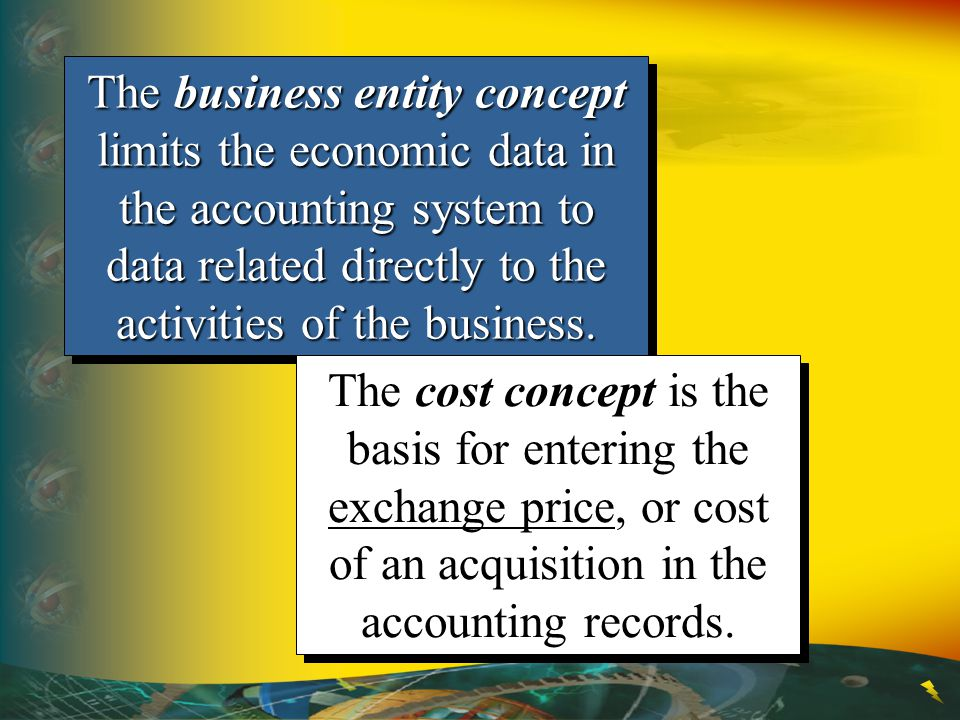 The business entity concept limits the economic data in the accounting system to data related directly to the activities of the business.
