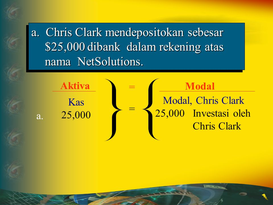a. Chris Clark mendepositokan sebesar $25,000 dibank dalam rekening atas nama NetSolutions.