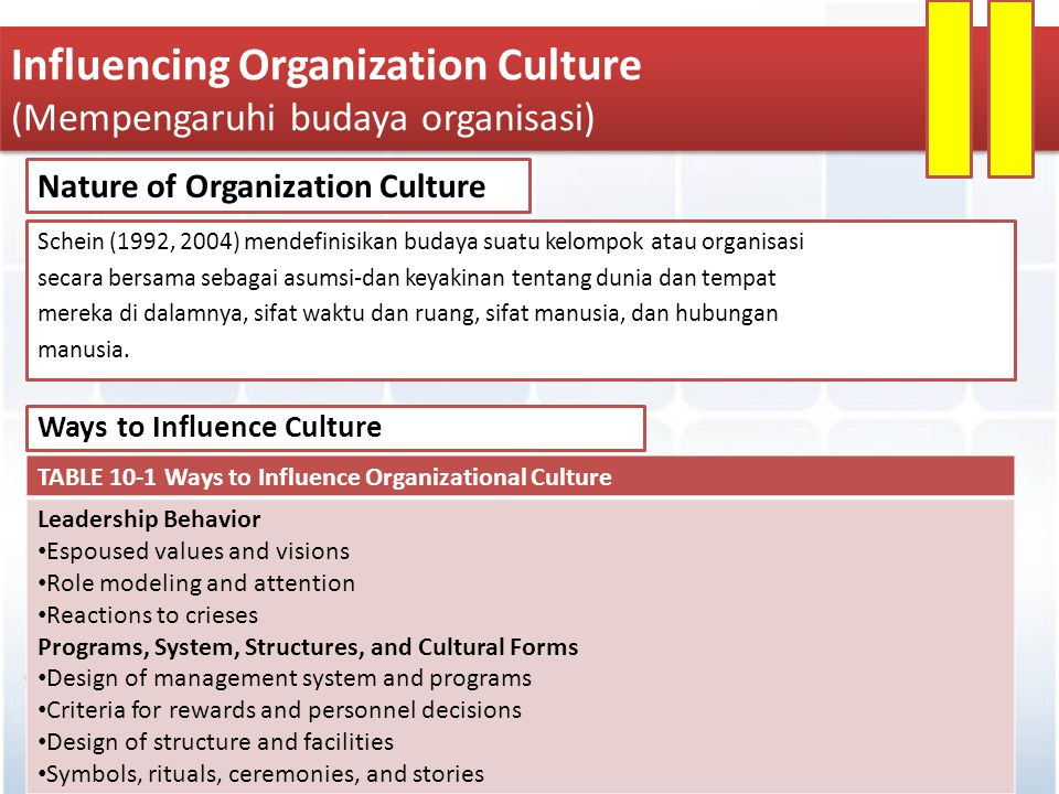 Influencing Organization Culture