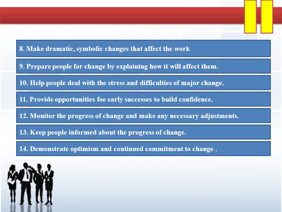 8. Make dramatic, symbolic changes that affect the work