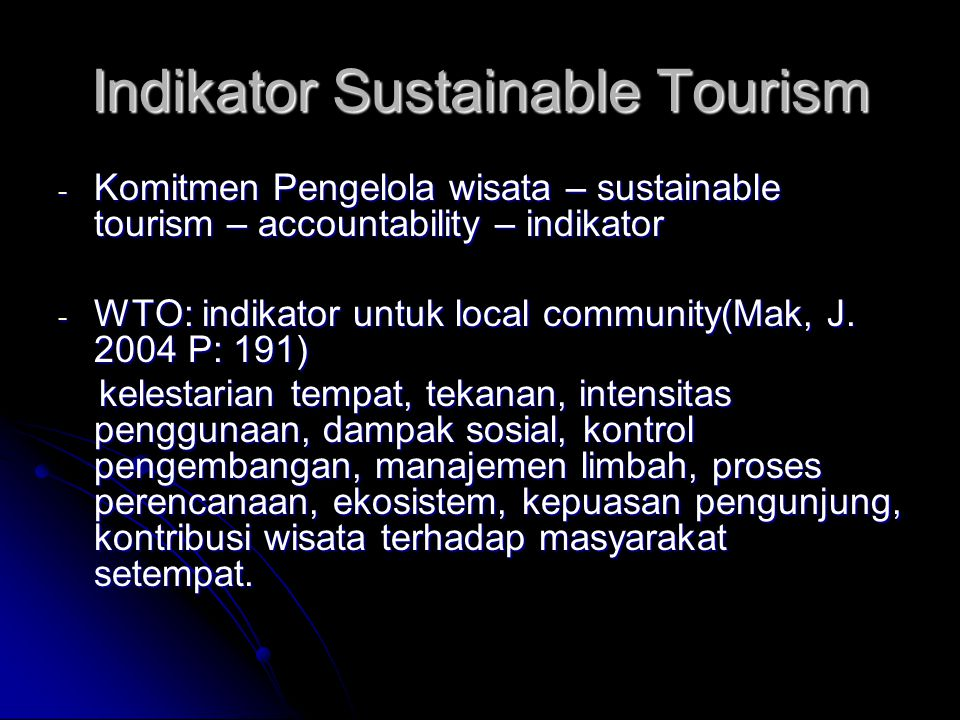 Indikator Sustainable Tourism