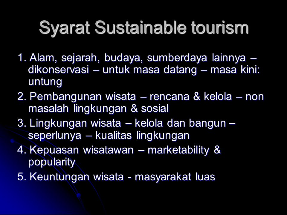Syarat Sustainable tourism