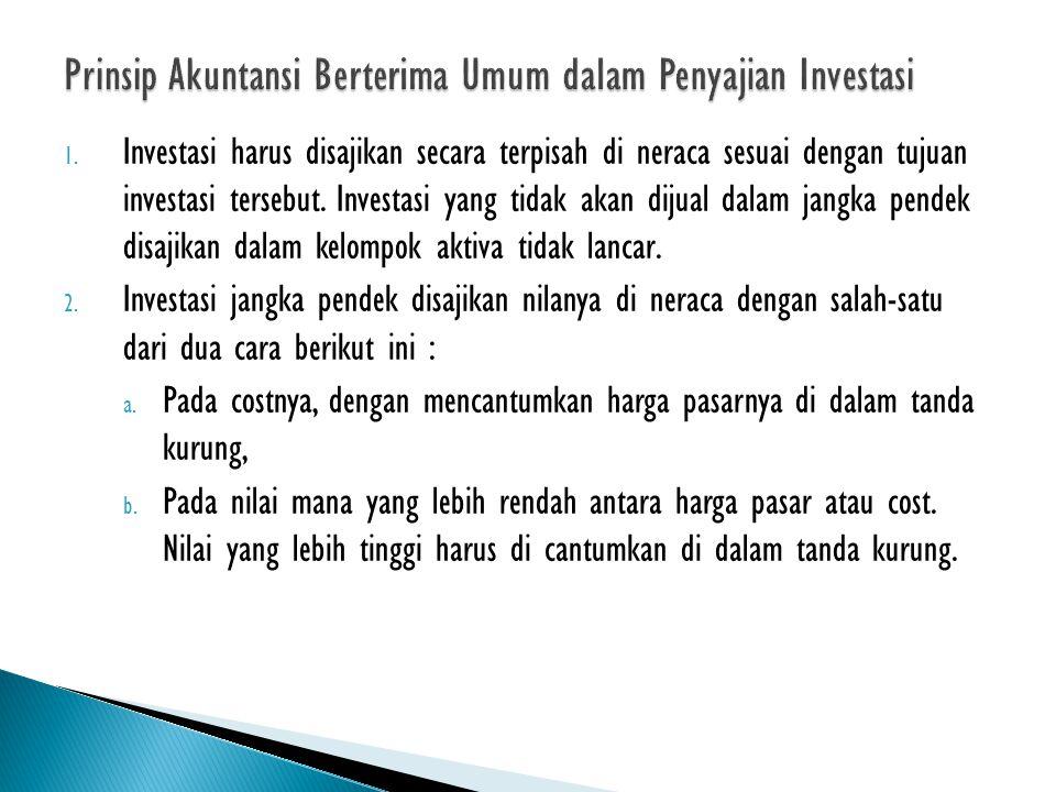 Prinsip Akuntansi Berterima Umum dalam Penyajian Investasi