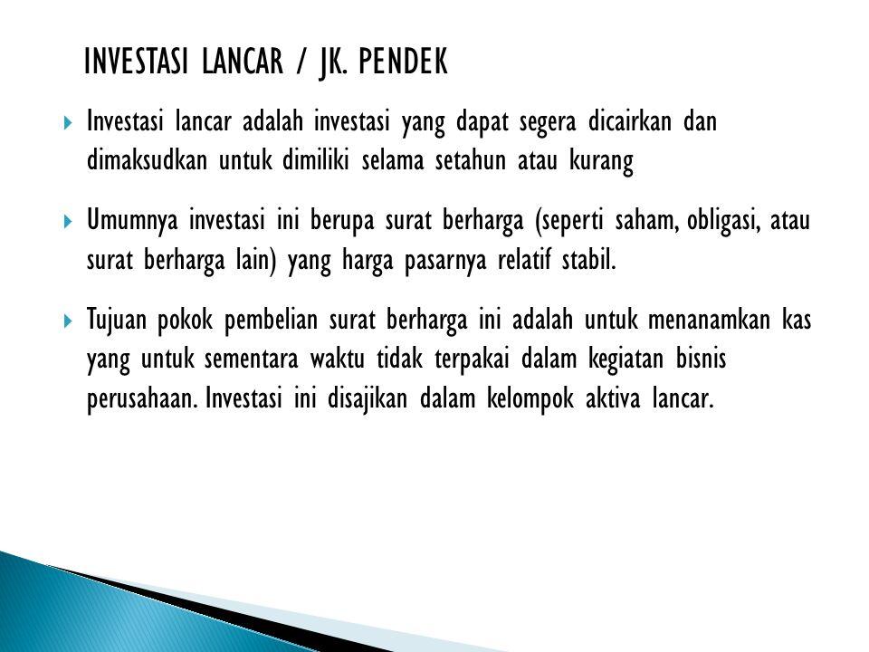 INVESTASI LANCAR / JK. PENDEK