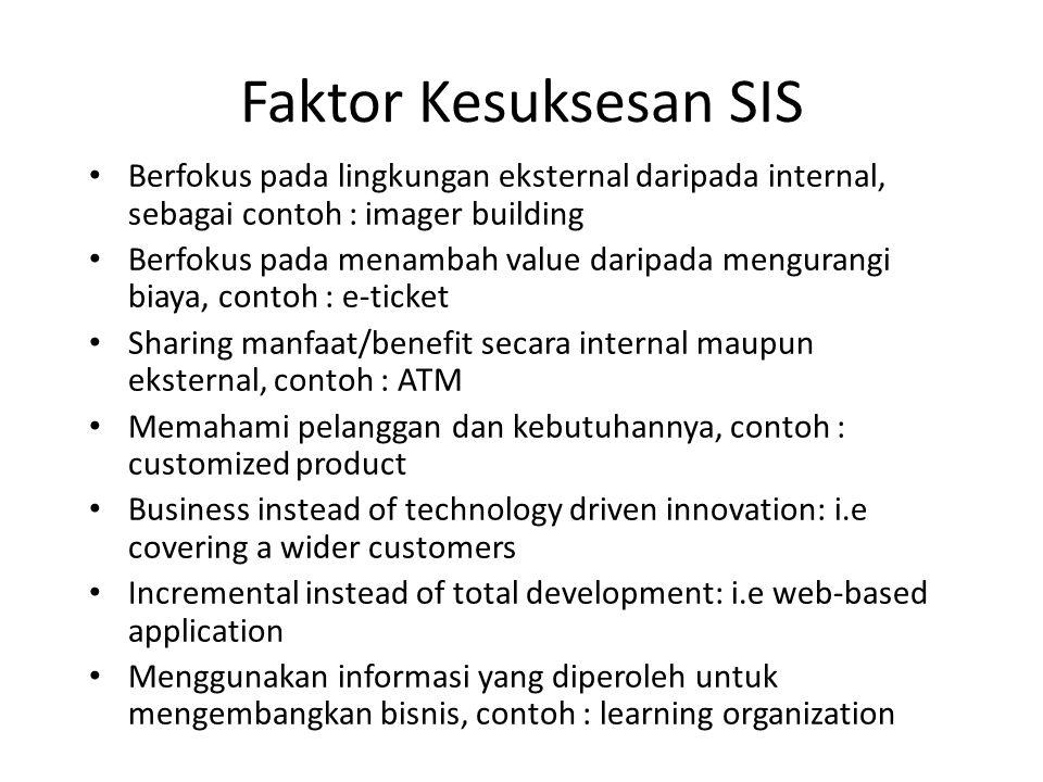 Faktor Kesuksesan SIS Berfokus pada lingkungan eksternal daripada internal, sebagai contoh : imager building.