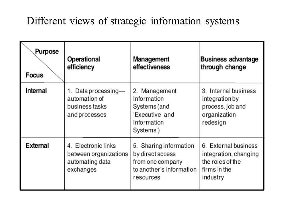 Different views of strategic information systems