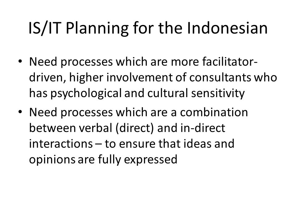 IS/IT Planning for the Indonesian