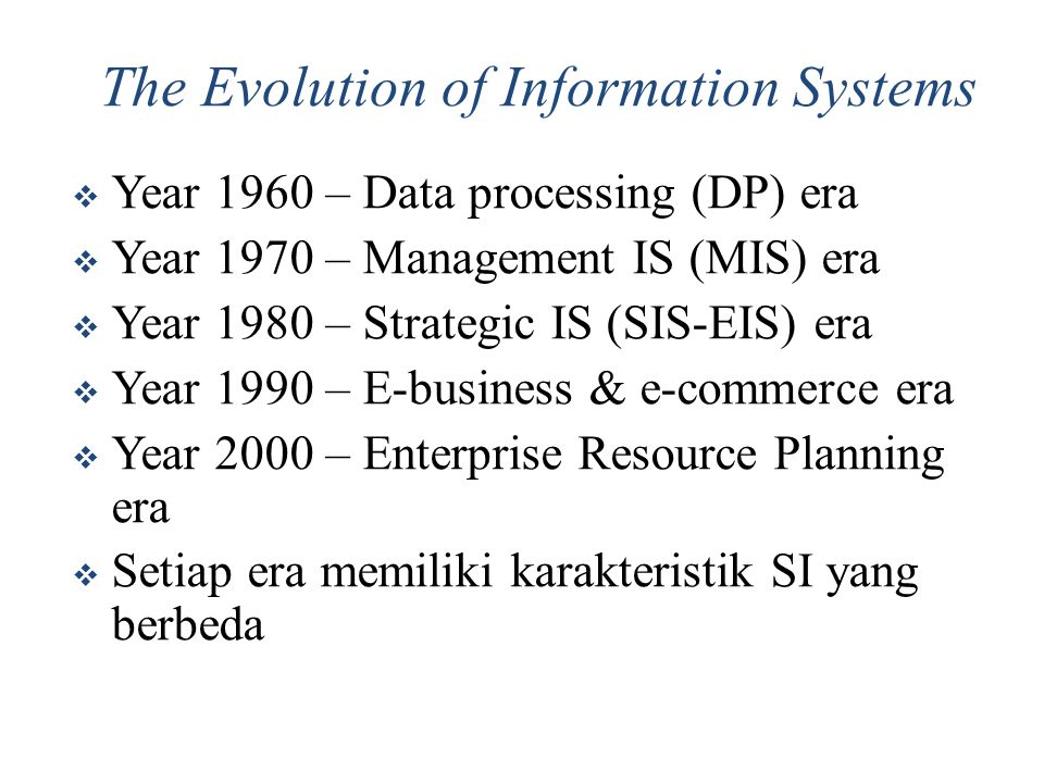 The Evolution of Information Systems