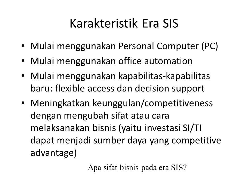 Karakteristik Era SIS Mulai menggunakan Personal Computer (PC)