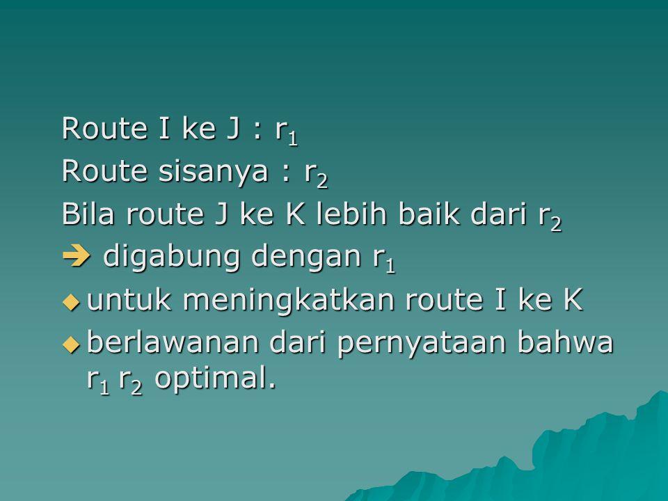 Route I ke J : r1 Route sisanya : r2. Bila route J ke K lebih baik dari r2.  digabung dengan r1.