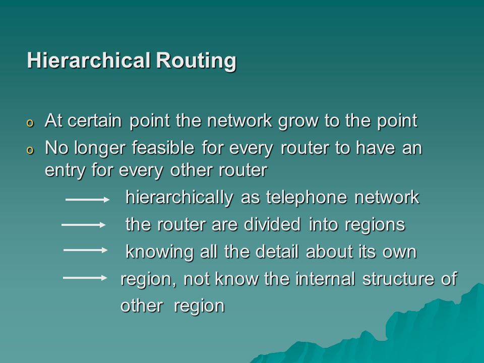 Hierarchical Routing At certain point the network grow to the point