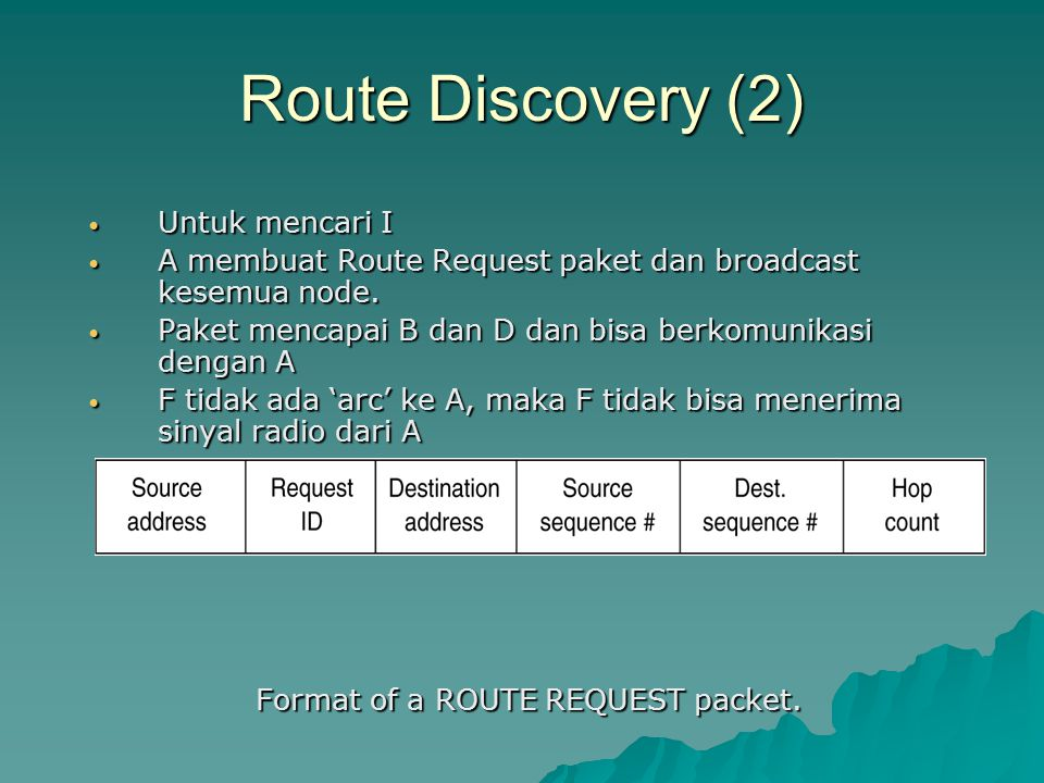Format of a ROUTE REQUEST packet.