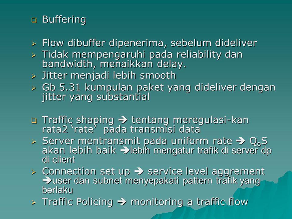 Buffering Flow dibuffer dipenerima, sebelum dideliver. Tidak mempengaruhi pada reliability dan bandwidth, menaikkan delay.