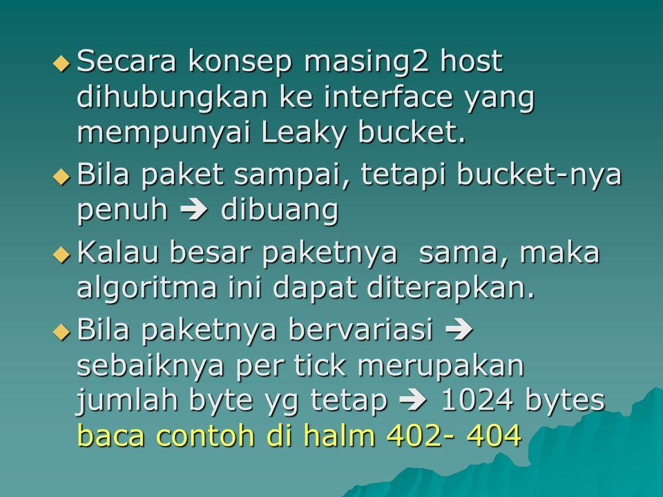 Secara konsep masing2 host dihubungkan ke interface yang mempunyai Leaky bucket.