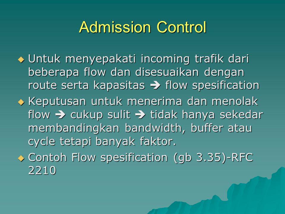 Admission Control Untuk menyepakati incoming trafik dari beberapa flow dan disesuaikan dengan route serta kapasitas  flow spesification.