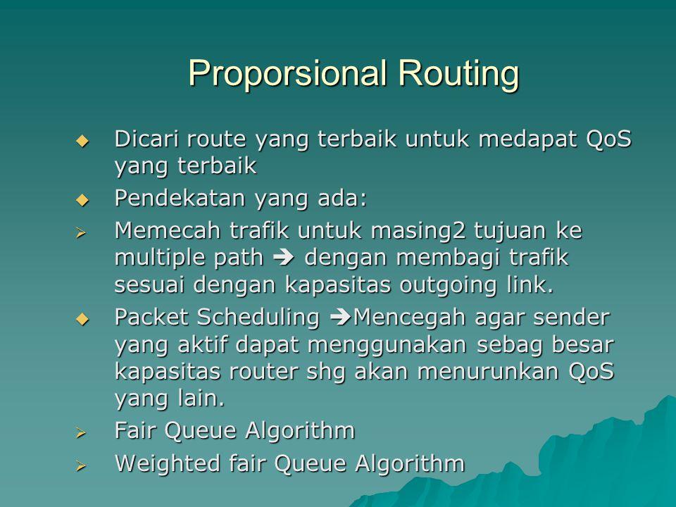 Proporsional Routing Dicari route yang terbaik untuk medapat QoS yang terbaik. Pendekatan yang ada: