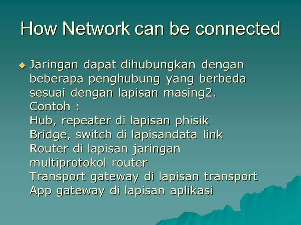 How Network can be connected