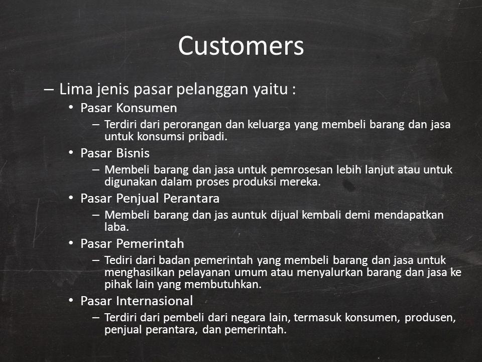 Customers Lima jenis pasar pelanggan yaitu : Pasar Konsumen