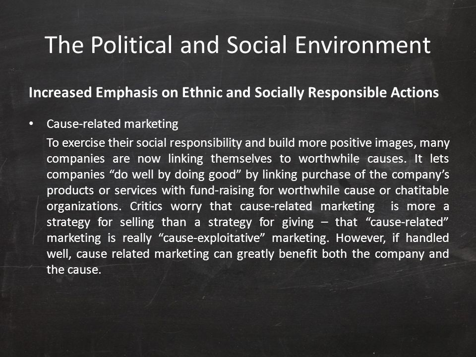 The Political and Social Environment