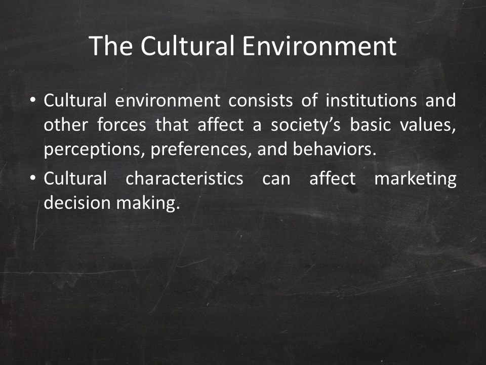 The Cultural Environment