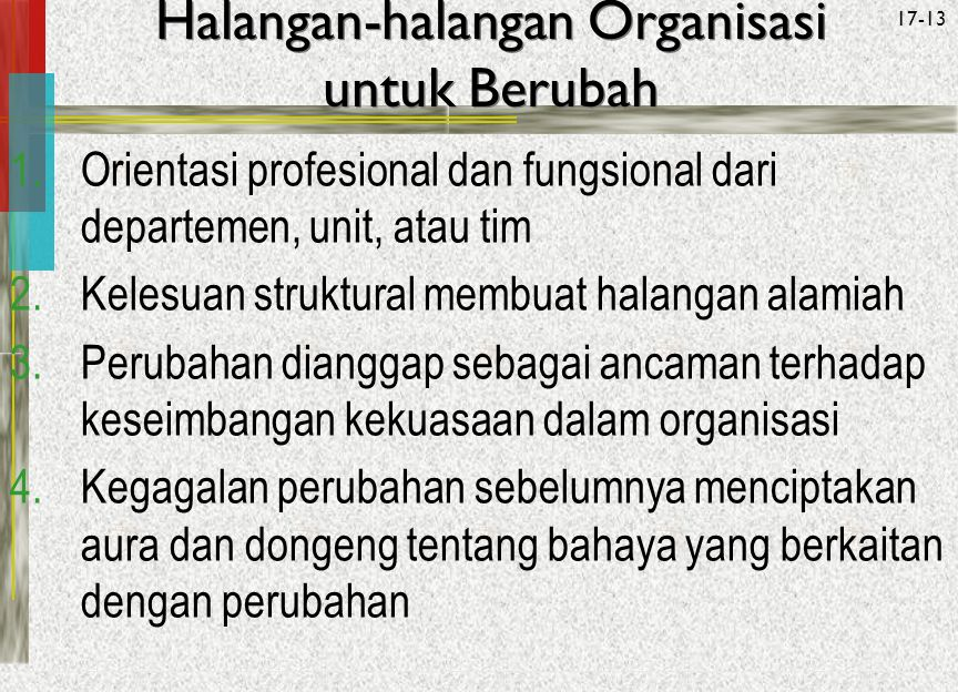 Halangan-halangan Organisasi untuk Berubah