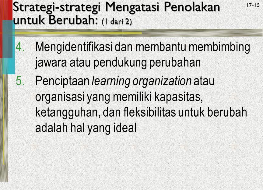 Strategi-strategi Mengatasi Penolakan untuk Berubah: (1 dari 2)