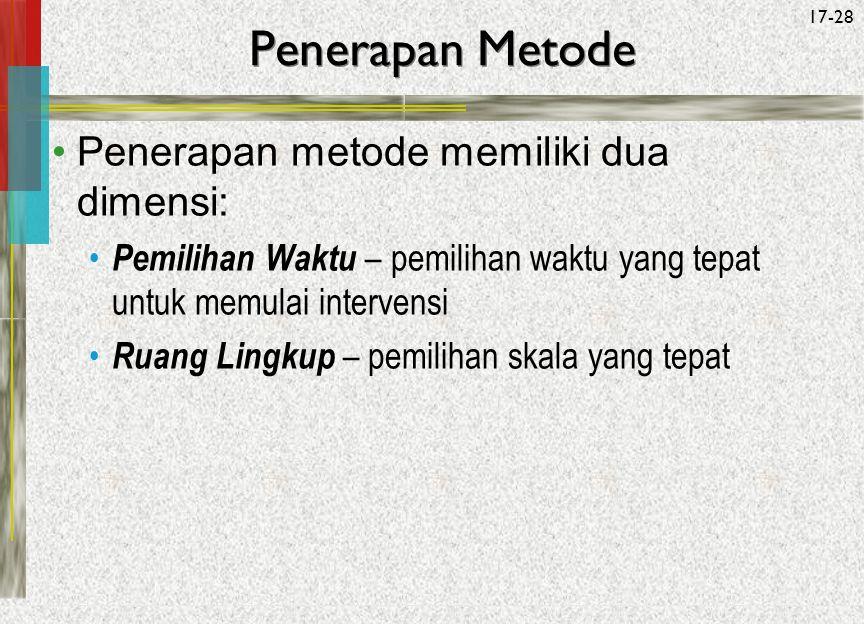 Penerapan Metode Penerapan metode memiliki dua dimensi: