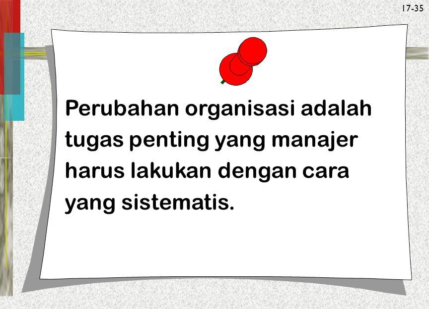 Perubahan organisasi adalah tugas penting yang manajer harus lakukan dengan cara yang sistematis.