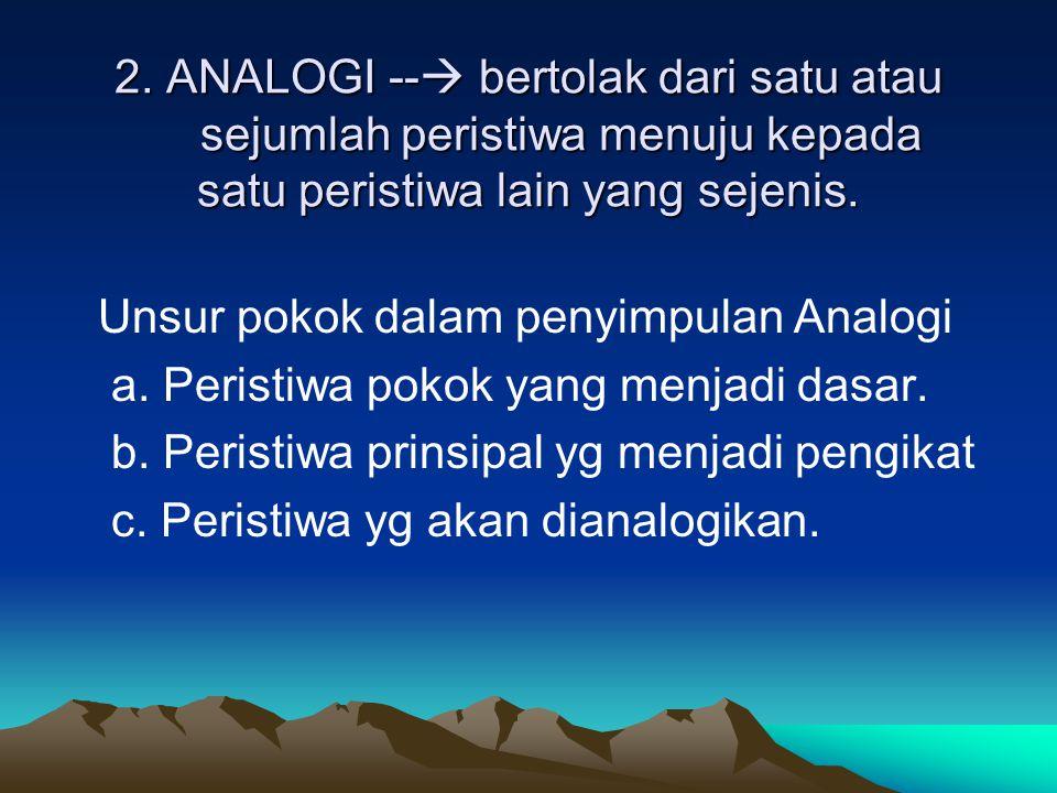 2. ANALOGI -- bertolak dari satu atau sejumlah peristiwa menuju kepada satu peristiwa lain yang sejenis.