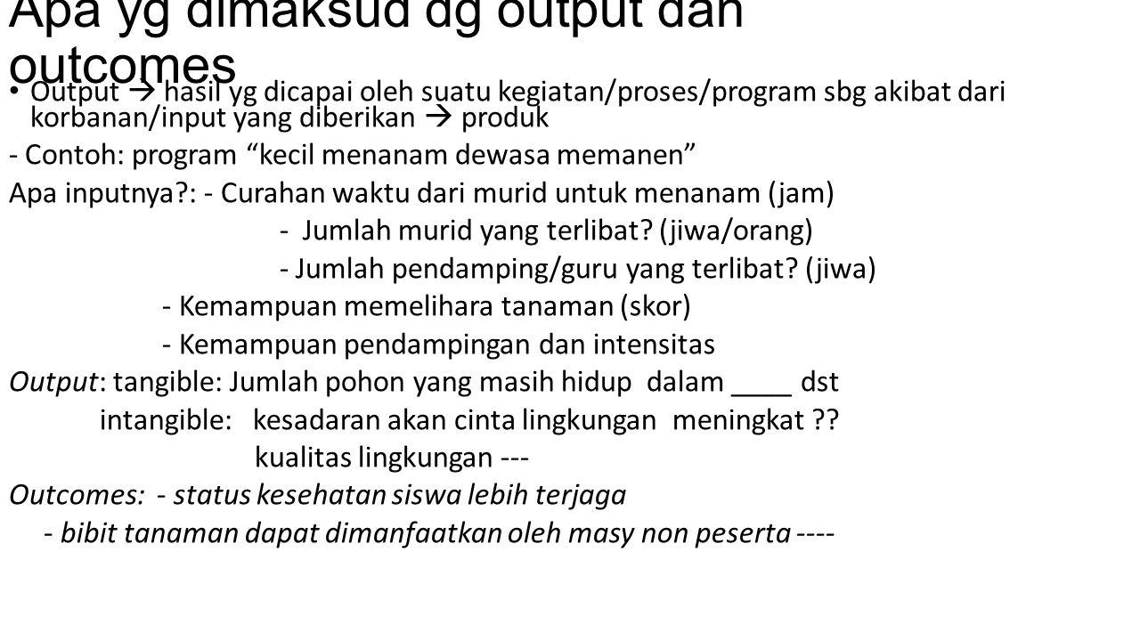 Apa yg dimaksud dg output dan outcomes