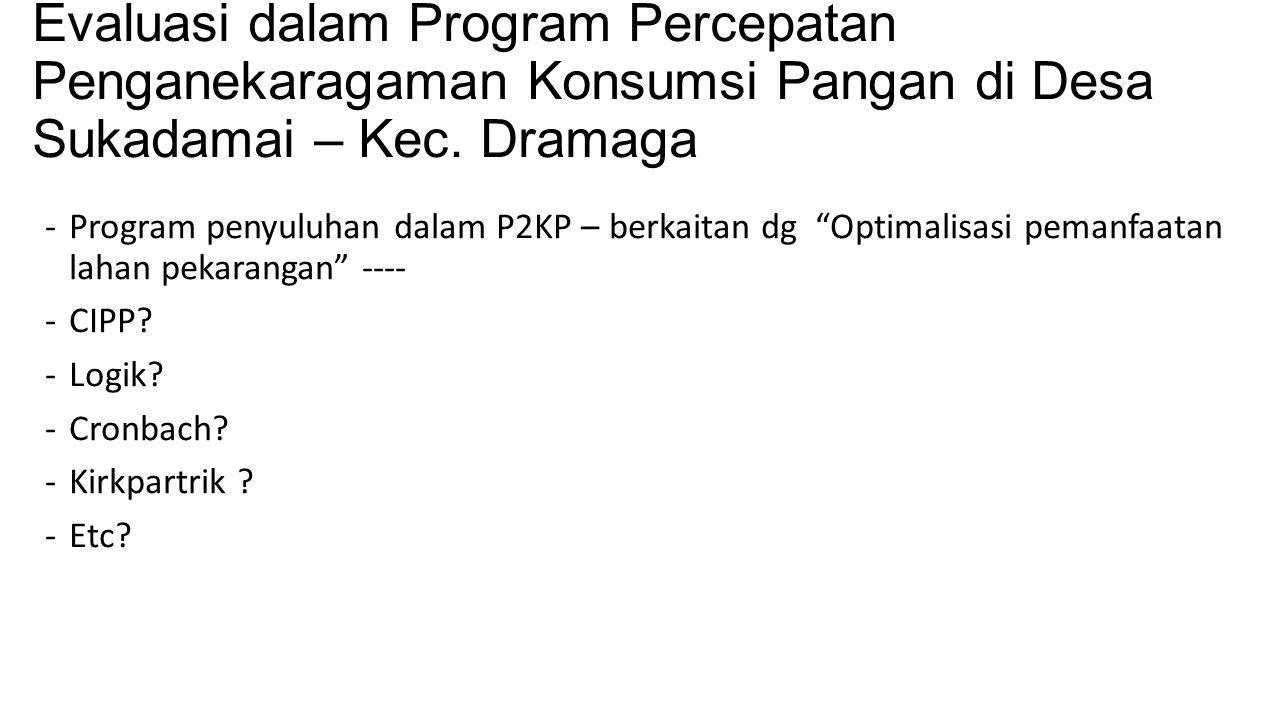 Evaluasi dalam Program Percepatan Penganekaragaman Konsumsi Pangan di Desa Sukadamai – Kec. Dramaga