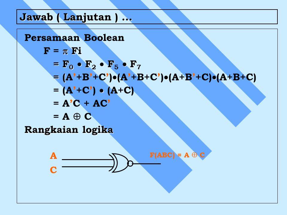 Jawab ( Lanjutan ) ... Persamaan Boolean F =  Fi = F0  F2  F5  F7