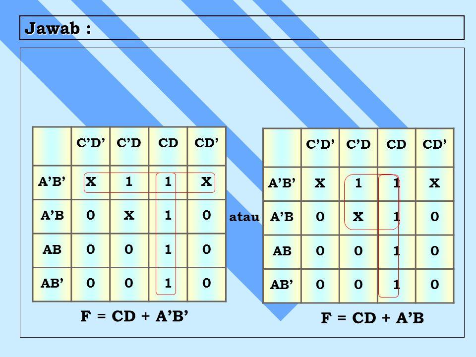 Jawab : F = CD + A'B' F = CD + A'B C'D' C'D CD CD' A'B' X 1 A'B AB AB'