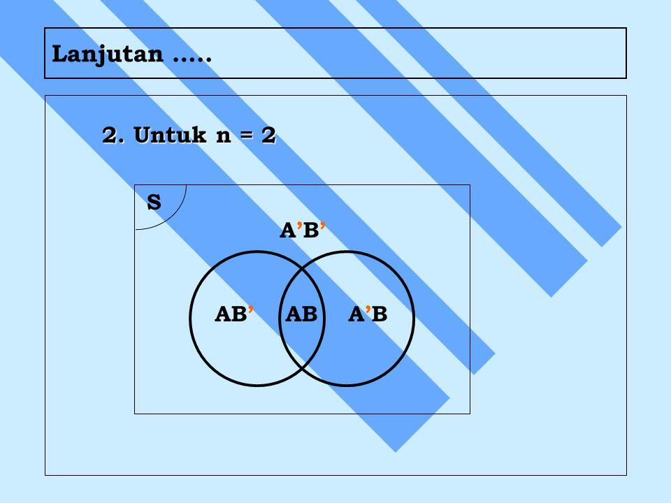 Lanjutan ….. 2. Untuk n = 2 S AB AB' A'B A'B'