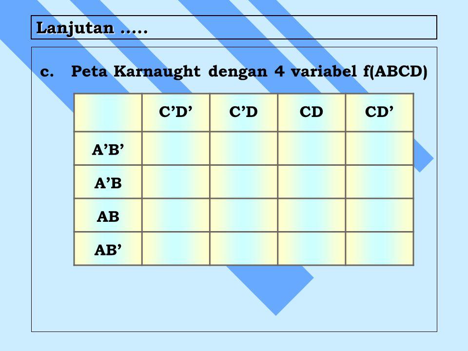 Lanjutan ….. c. Peta Karnaught dengan 4 variabel f(ABCD) C'D' C'D CD