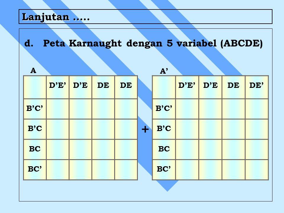 + Lanjutan ….. d. Peta Karnaught dengan 5 variabel (ABCDE) A A' D'E'