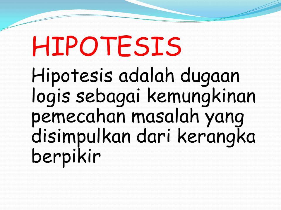 HIPOTESIS Hipotesis adalah dugaan logis sebagai kemungkinan pemecahan masalah yang disimpulkan dari kerangka berpikir