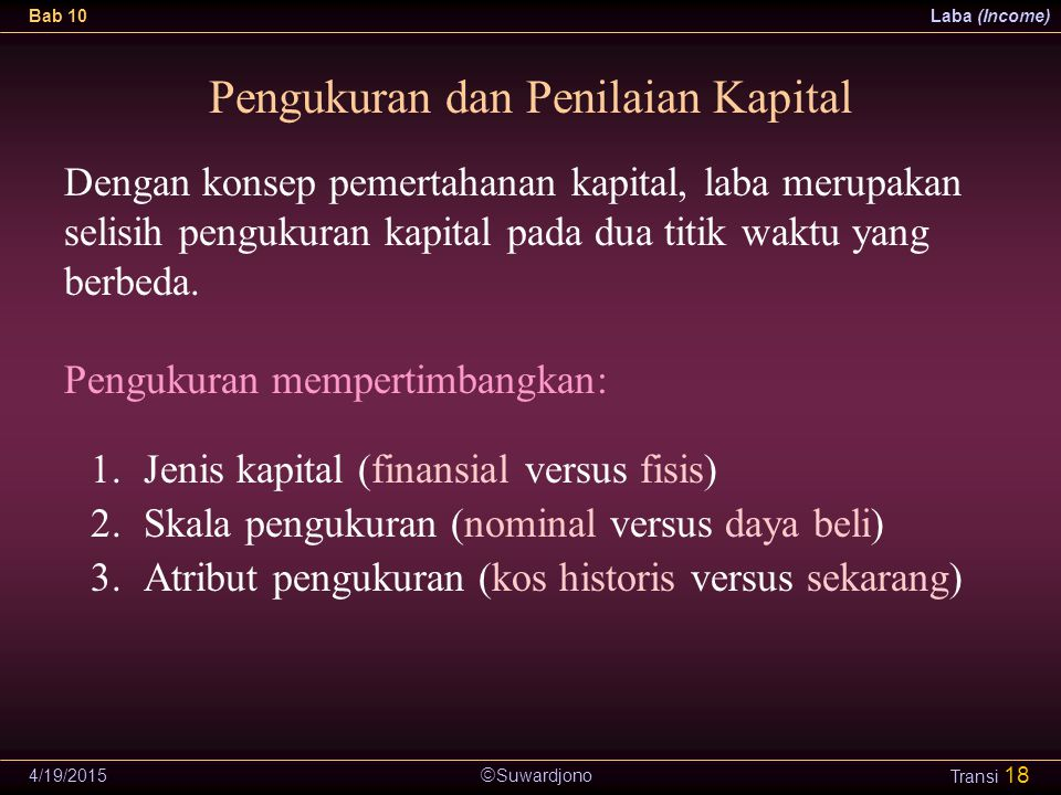Pengukuran dan Penilaian Kapital