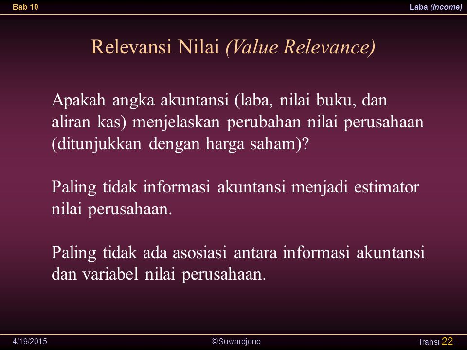 Relevansi Nilai (Value Relevance)