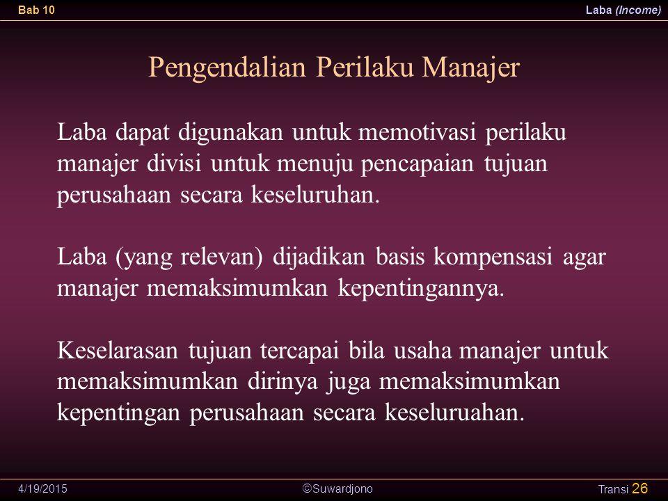 Pengendalian Perilaku Manajer