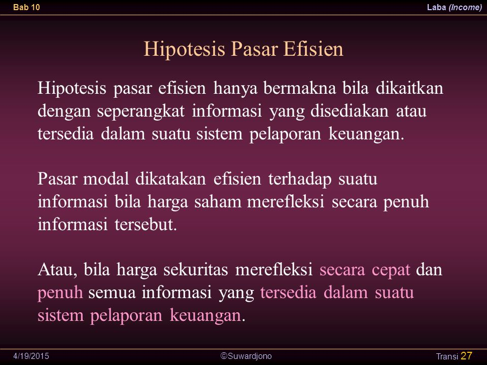 Hipotesis Pasar Efisien